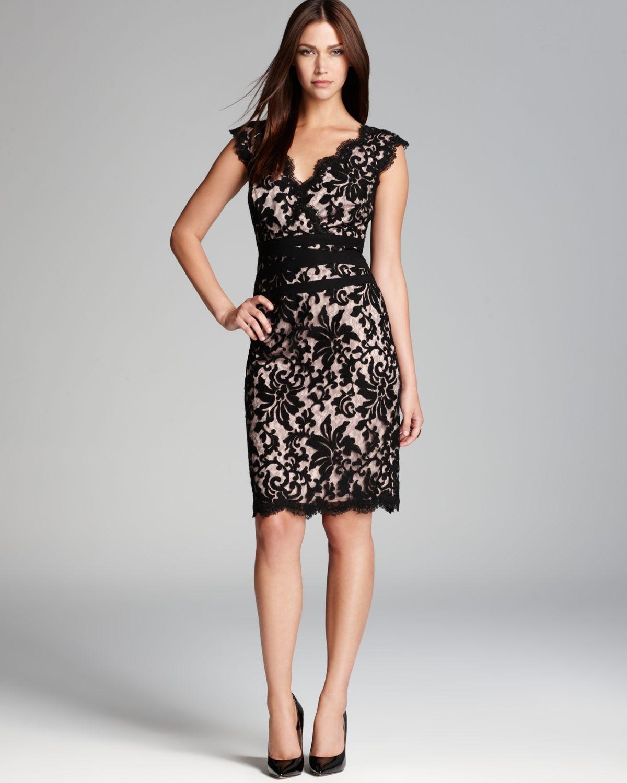 Lace Dresses With Sleeves: Tadashi Shoji Scallop Neckline Lace Dress