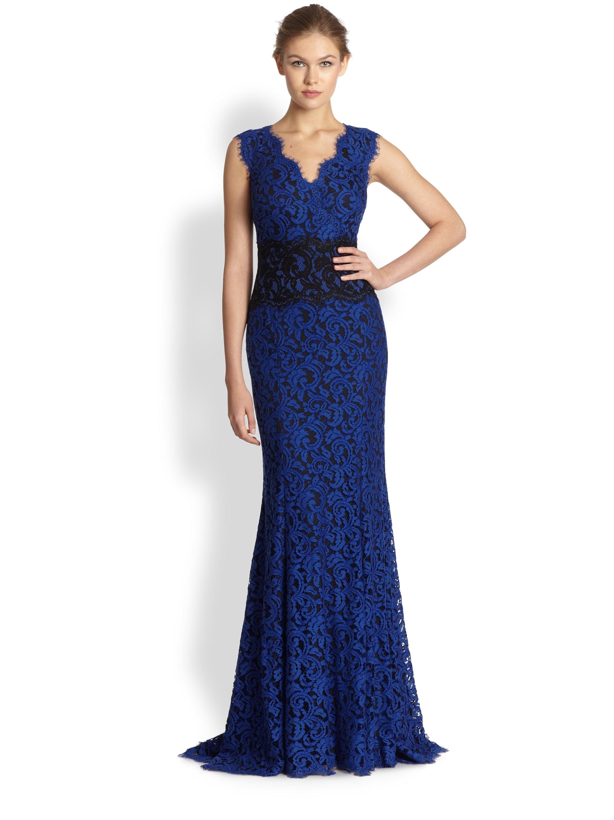 Tadashi Shoji Lace Contrast Waist Gown In Blue Lyst