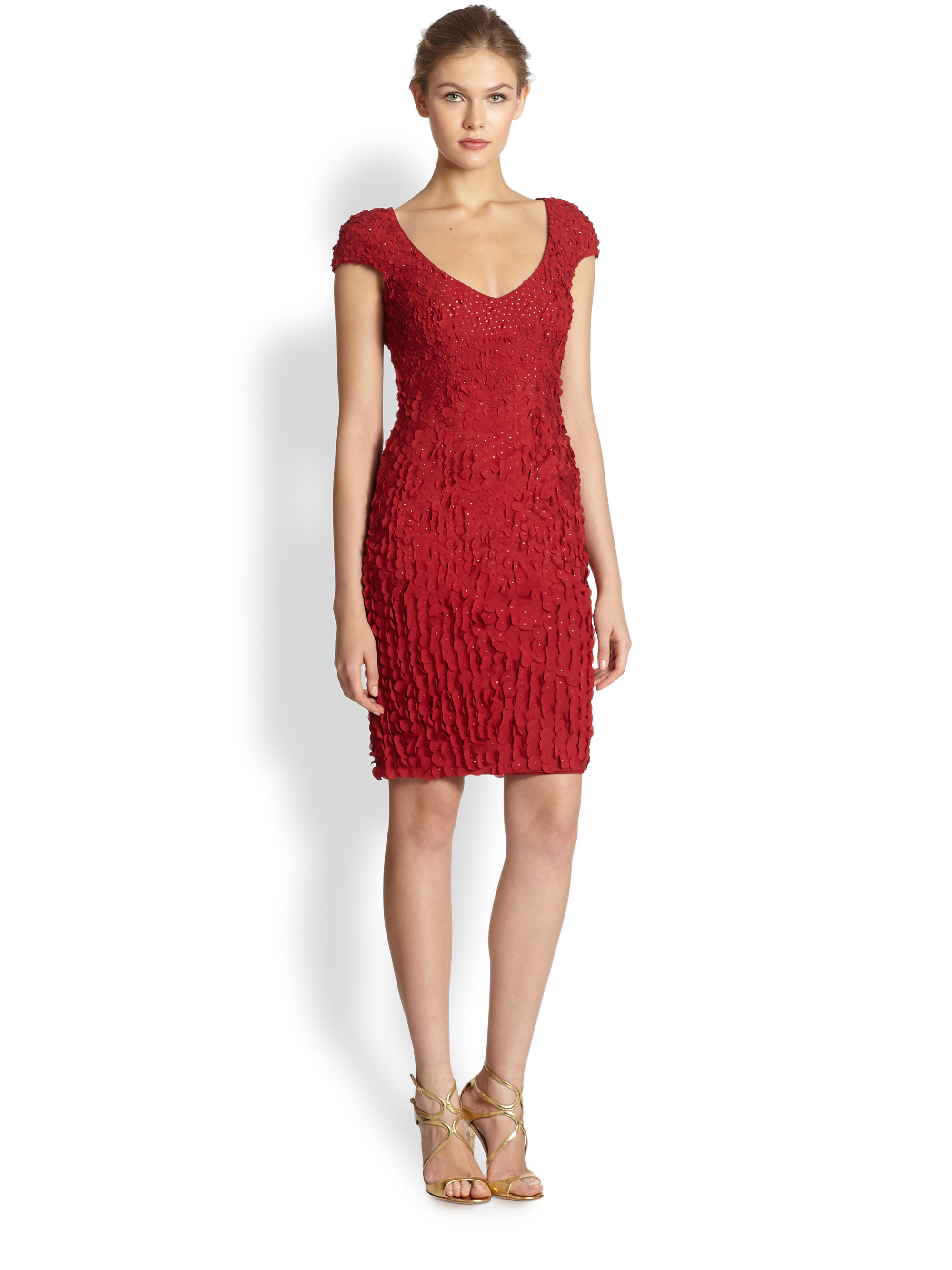 a488d5ceff8 Lyst - THEIA Petal Cocktail Dress in Red