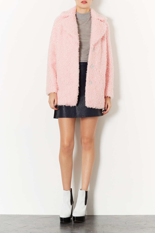 Topshop Teddy Fur Pea Coat in Pink | Lyst