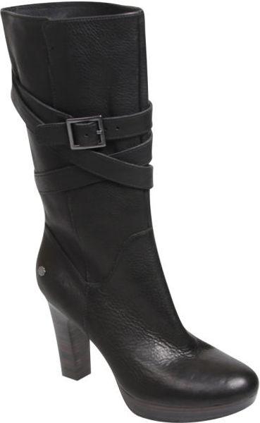 ugg australia womens jardin leather heeled boots in black