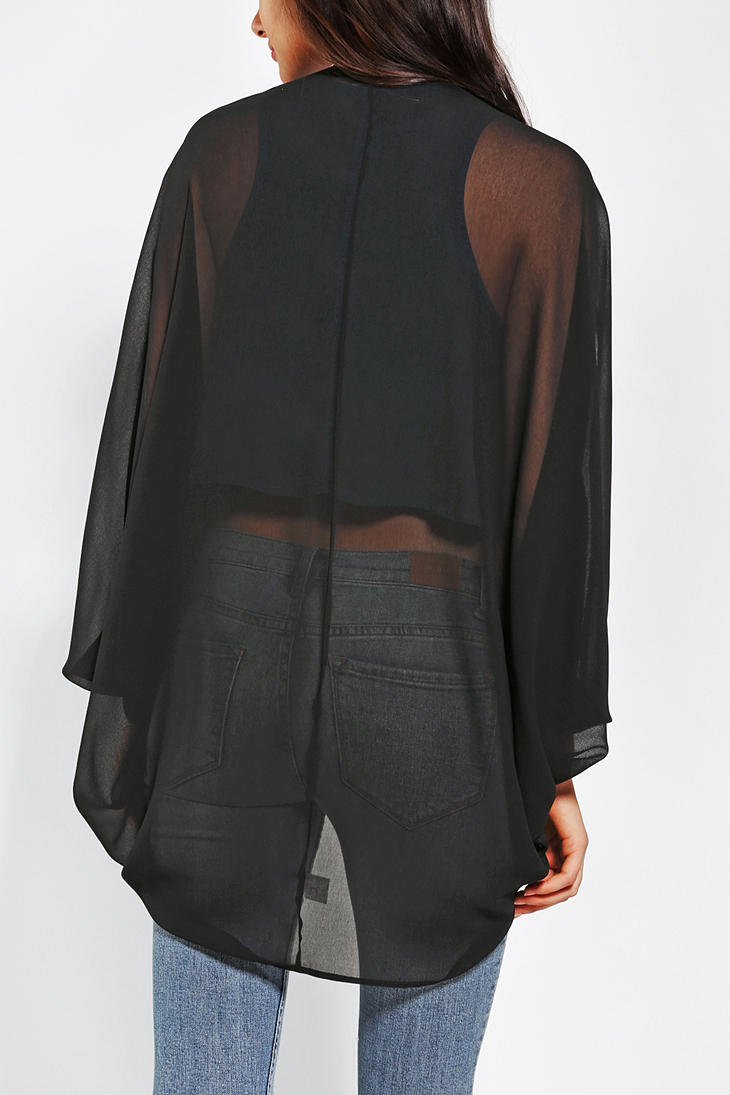 Urban outfitters Pins and Needles Chiffon Cocoon Cardigan in Black ...