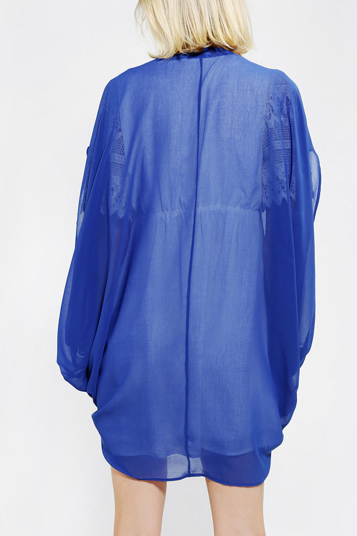 Urban outfitters Pins and Needles Chiffon Cocoon Cardigan in Blue ...