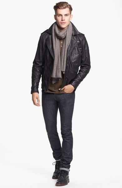 Zanerobe Crosstown Leather Biker Jacket in Black for Men