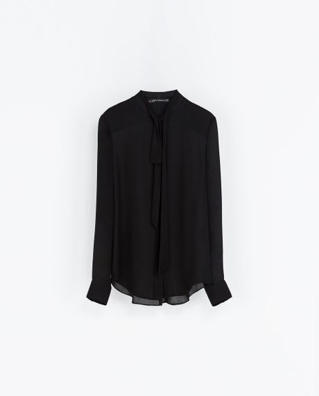 Zara Silk Blouse With Bow In Black Lyst