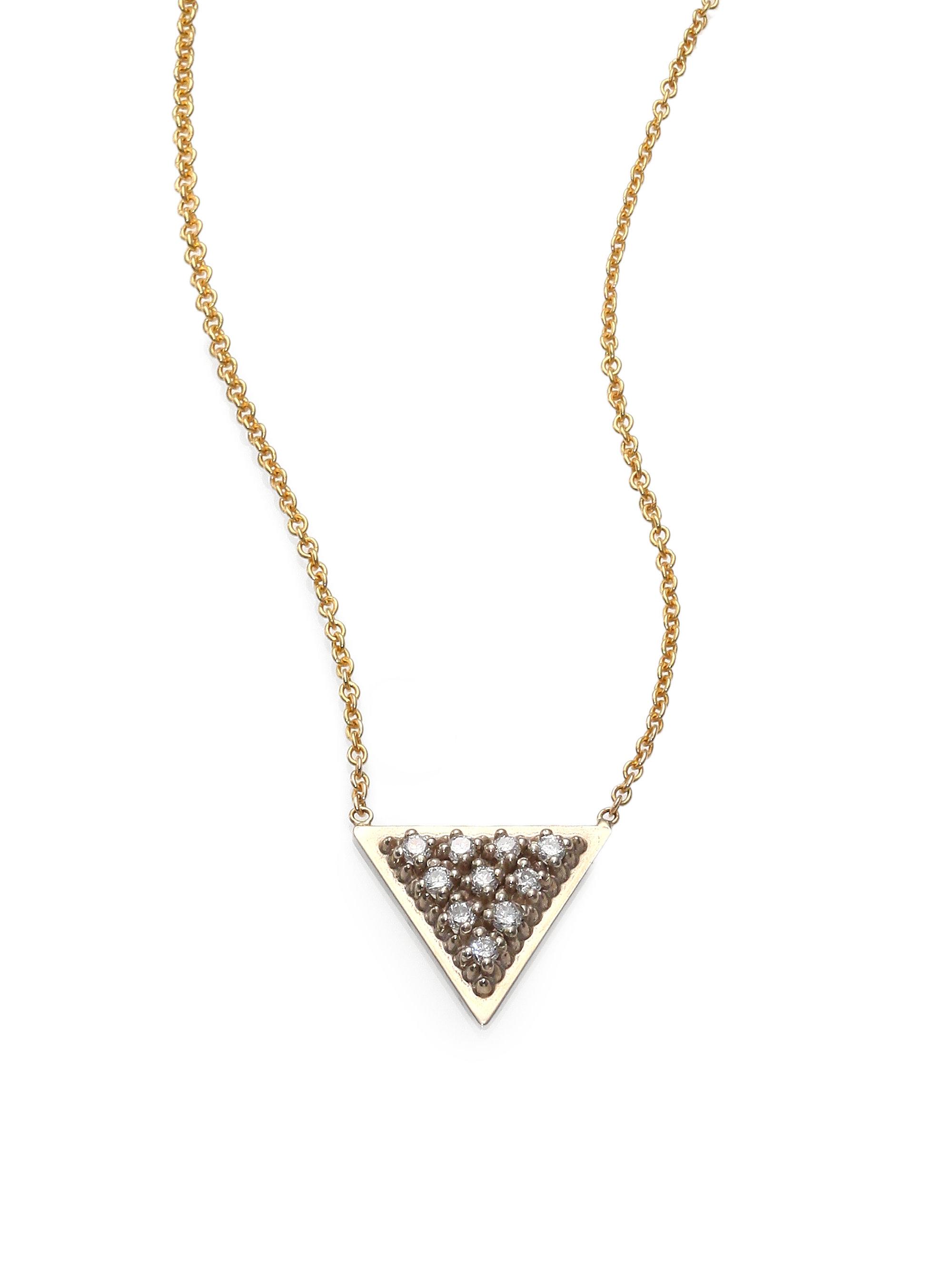 Lyst Zoe Chicco Diamond Amp 14k Yellow Gold Triangle