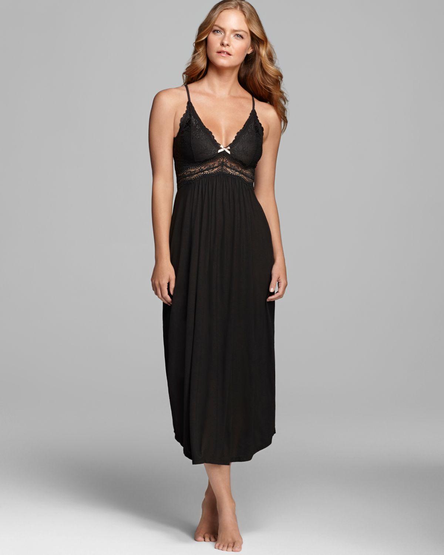 Lyst - Eberjey Collette Long Nightgown in Black