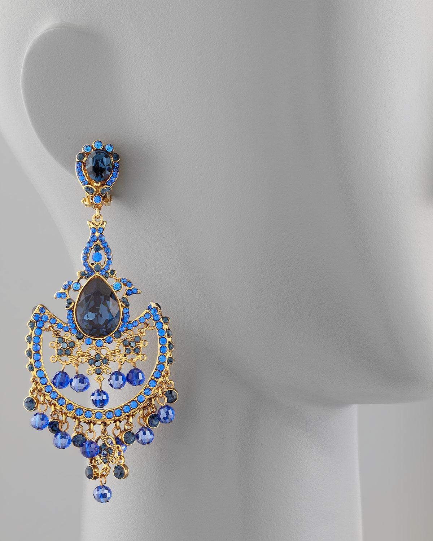 Jose & Maria Barrera Sodalite & Crystal Chandelier Earrings Tax7eQ7