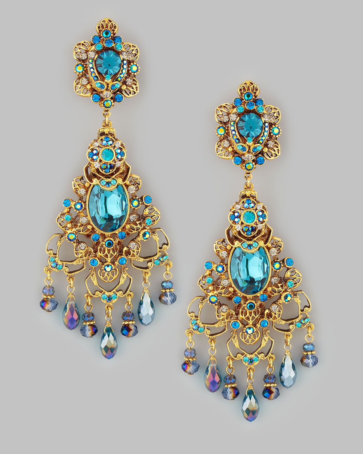Jose & maria barrera Filigree Chandelier Clip Earrings Goldteal in ...