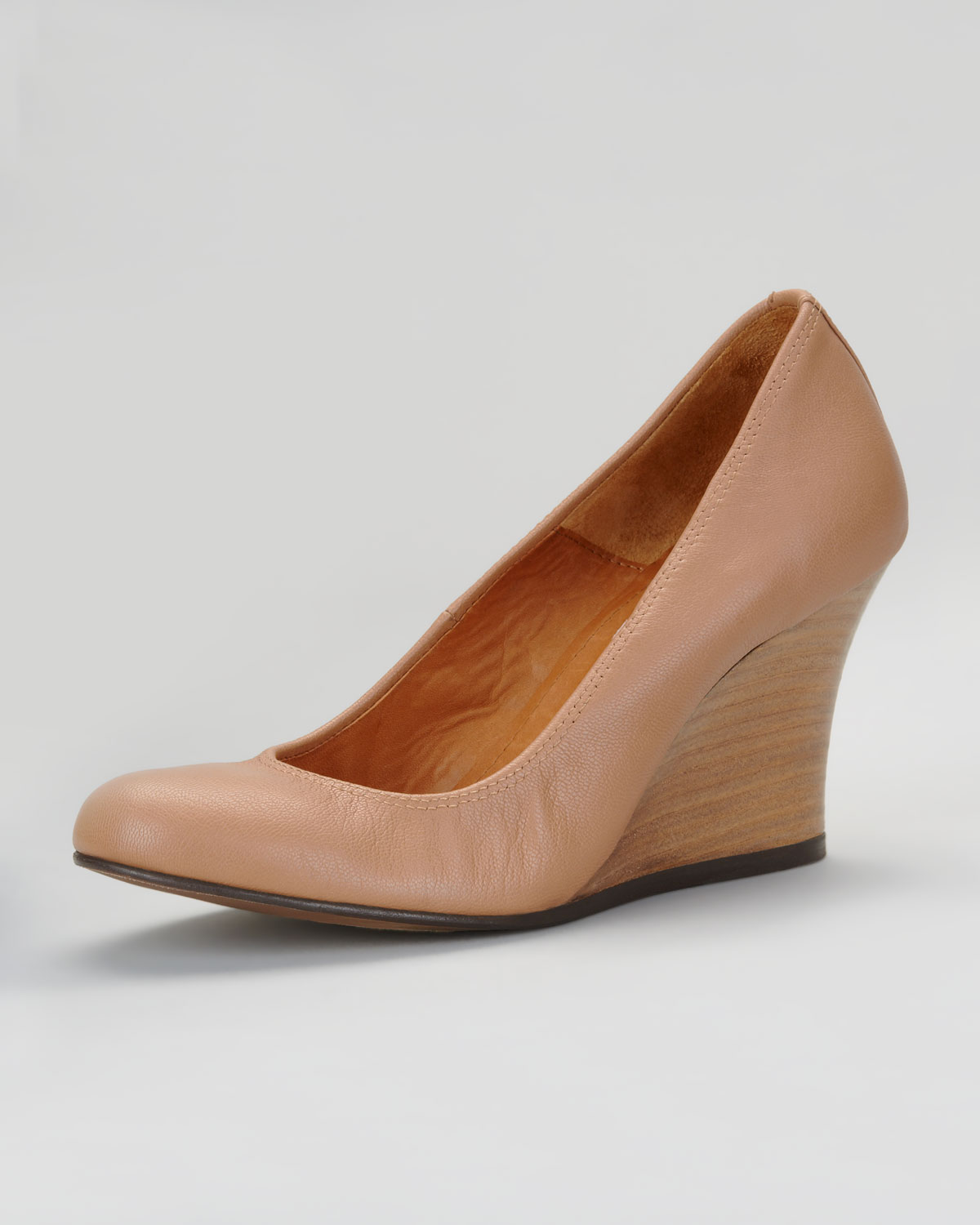 Lanvin Ballerina Wedge Pump Nude in Natural | Lyst