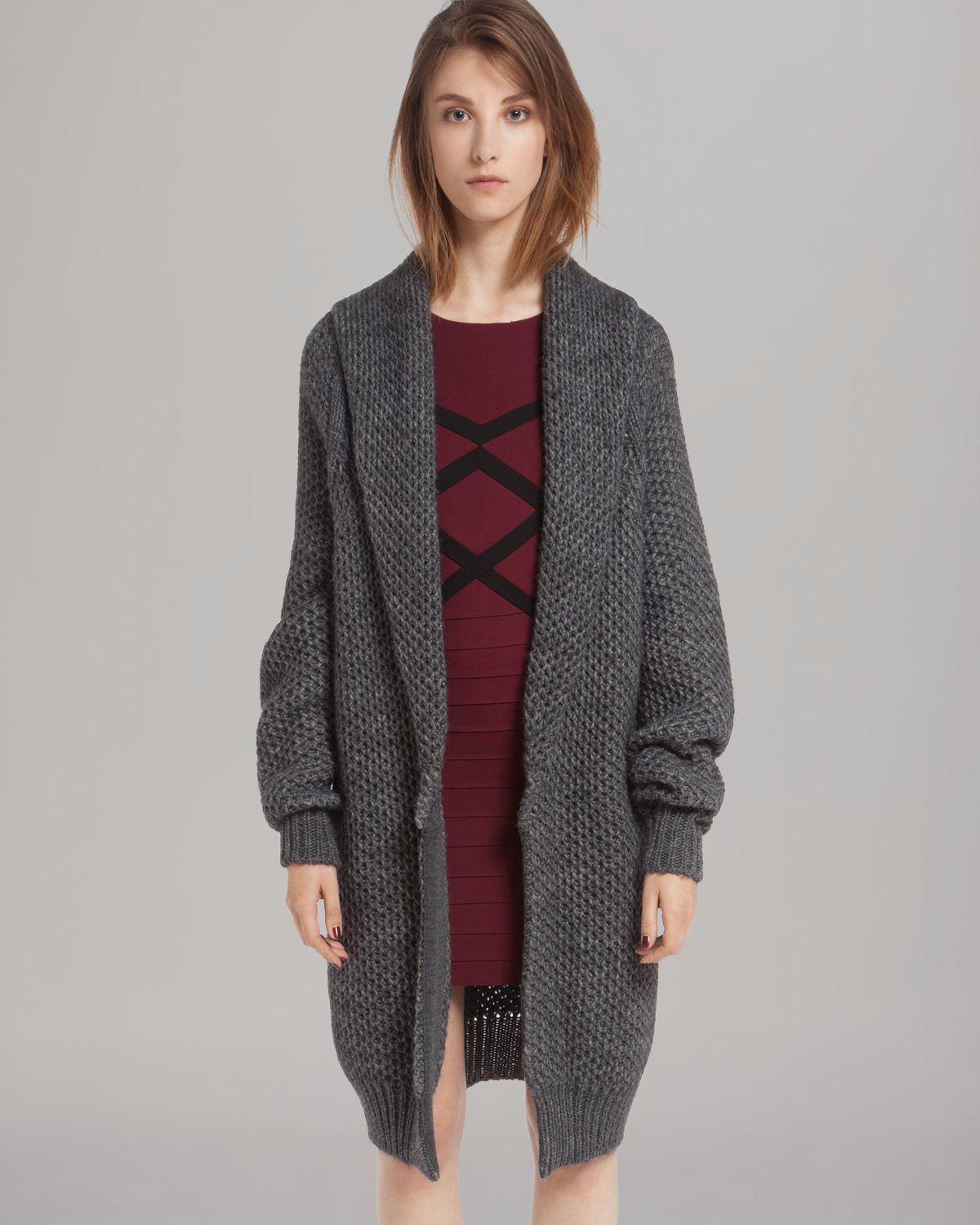 Maje Cardigan Oversized in Gray | Lyst