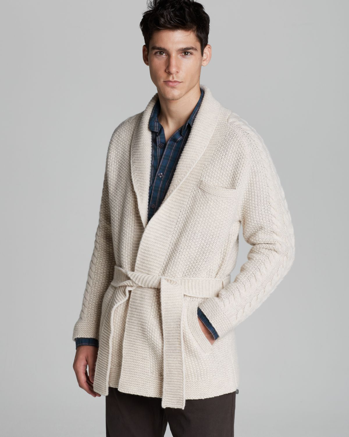 Steven alan Luke Wrap Wool Cardigan in Natural for Men | Lyst