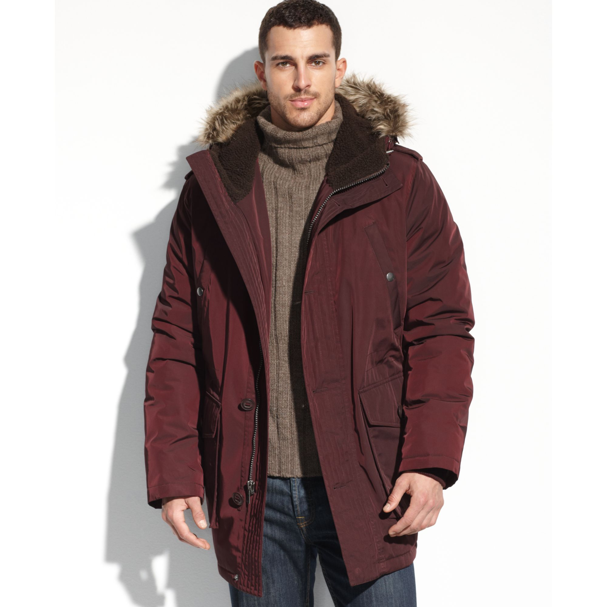 Tommy hilfiger Faux Fur Hooded Snorkle Performance Parka in Red ...
