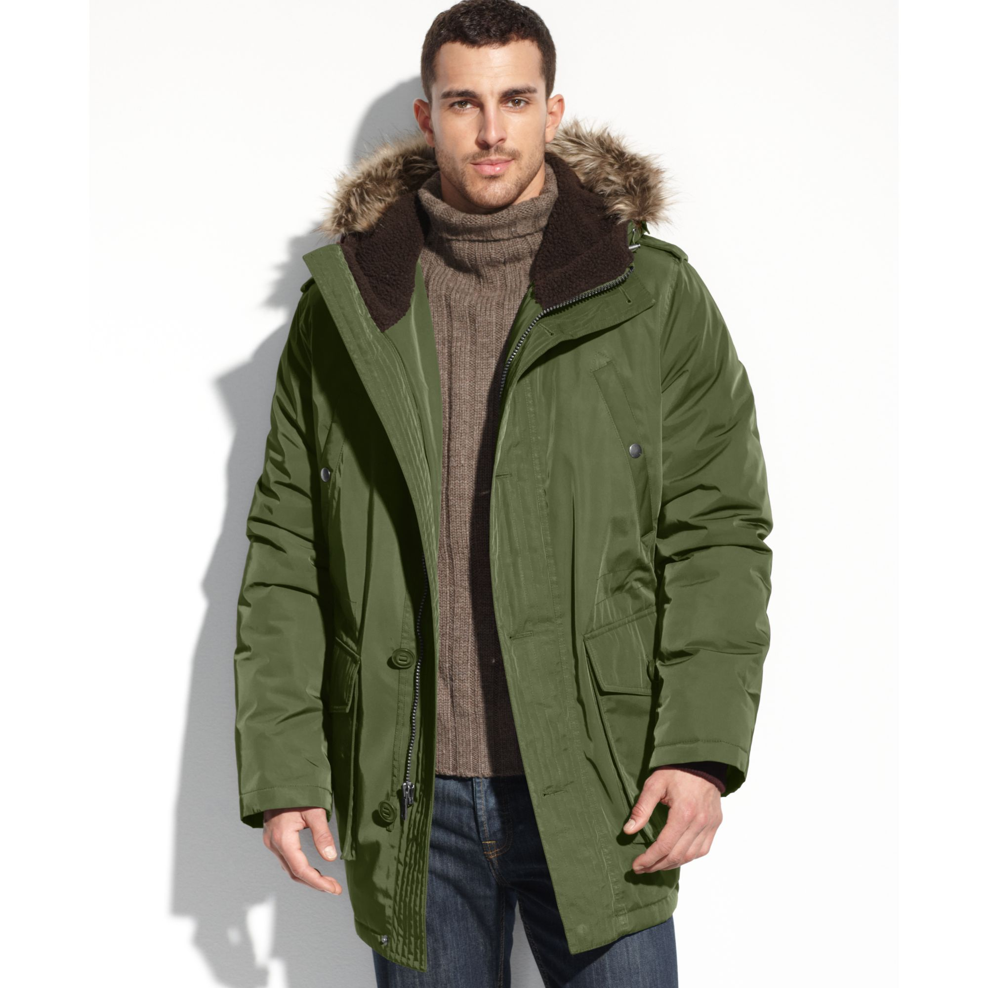 Tommy hilfiger Faux Fur Hooded Snorkle Performance Parka in Green ...