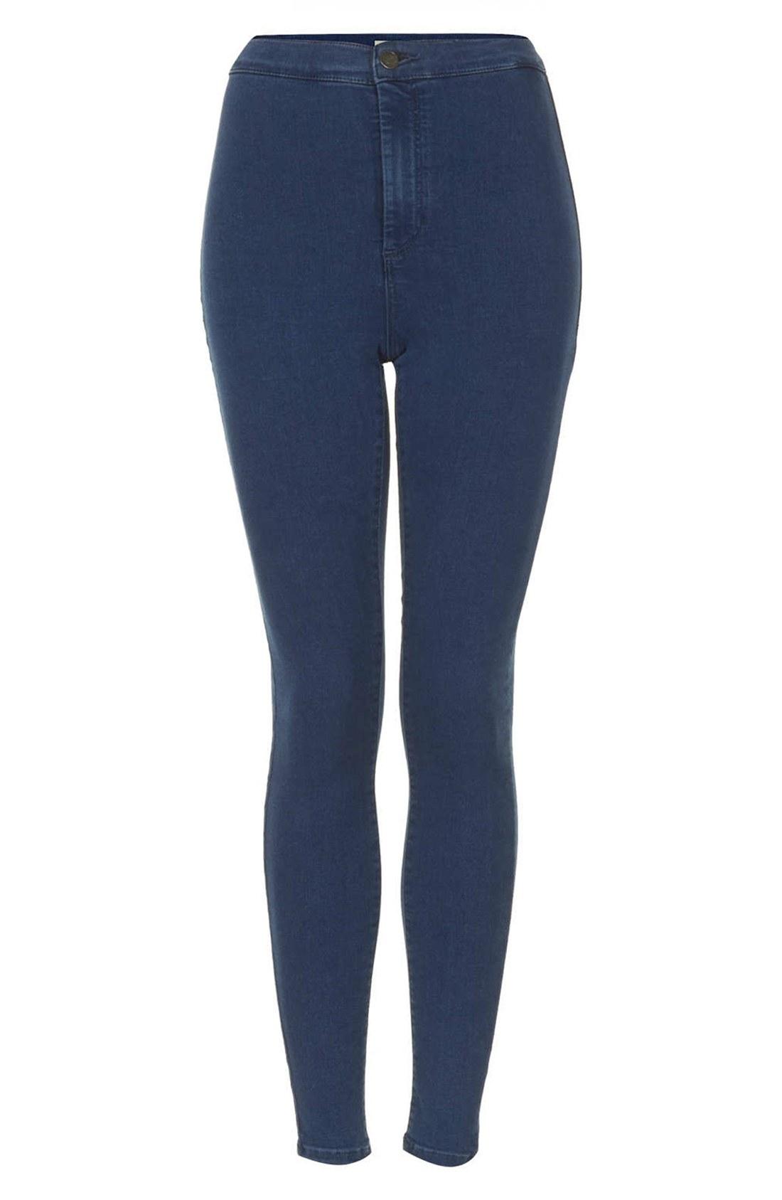 topshop moto joni high waist skinny jeans in blue. Black Bedroom Furniture Sets. Home Design Ideas