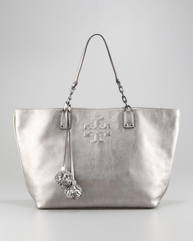 4551fec5edf Lyst - Tory Burch Thea Leather Metallic Tote Bag Gunmetal in Metallic