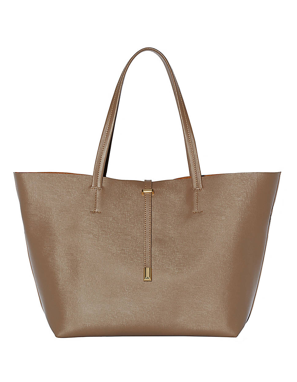 Vince Camuto Leila Leather Tote Bag In Brown Gold Lyst