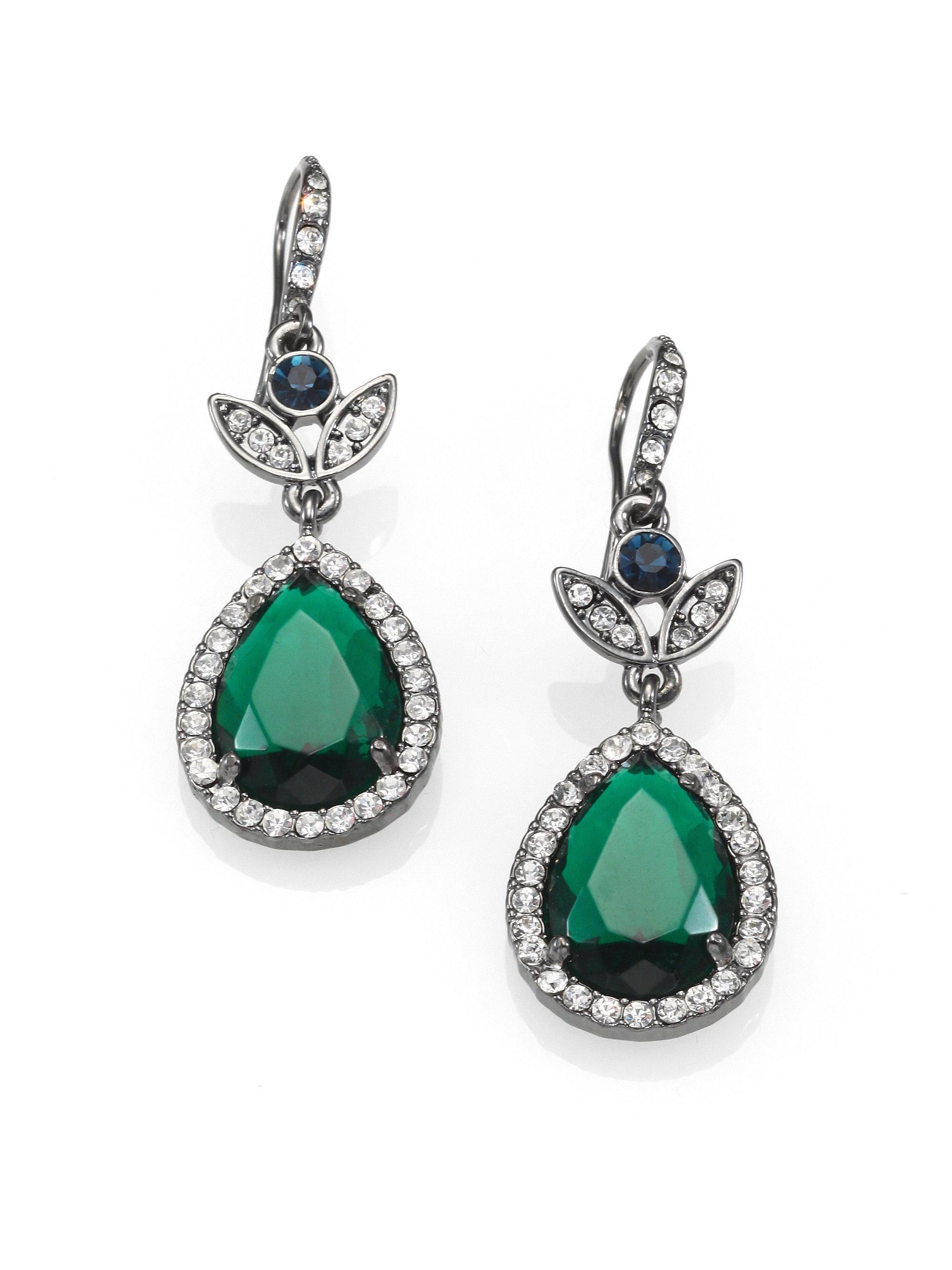 abs by allen schwartz faceted pear drop earrings in silver