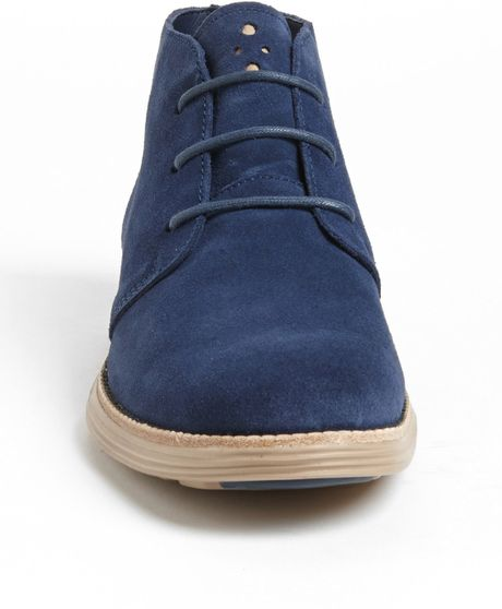 cole haan lunargrand chukka boot in blue for blazer