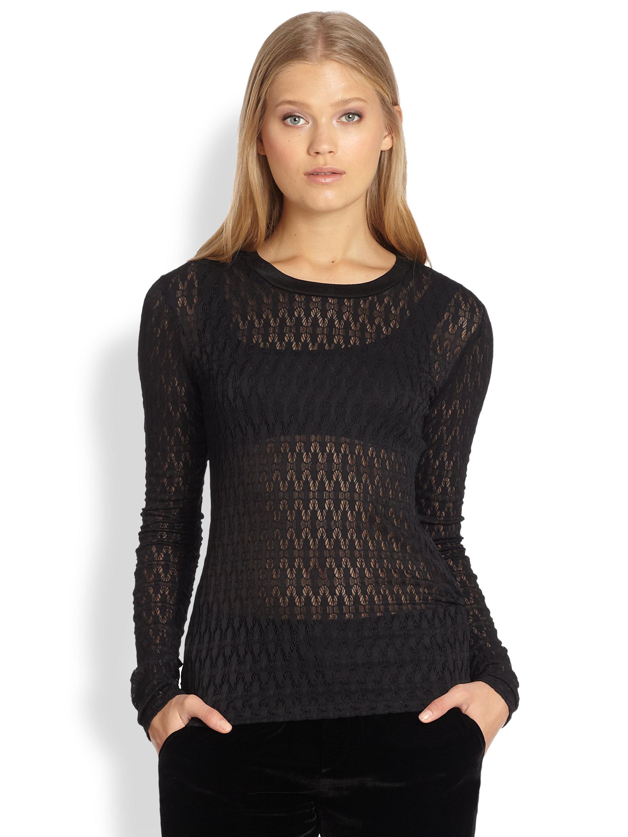 Lyst Rag Bone Grace Patterned Open Knit Top In Black