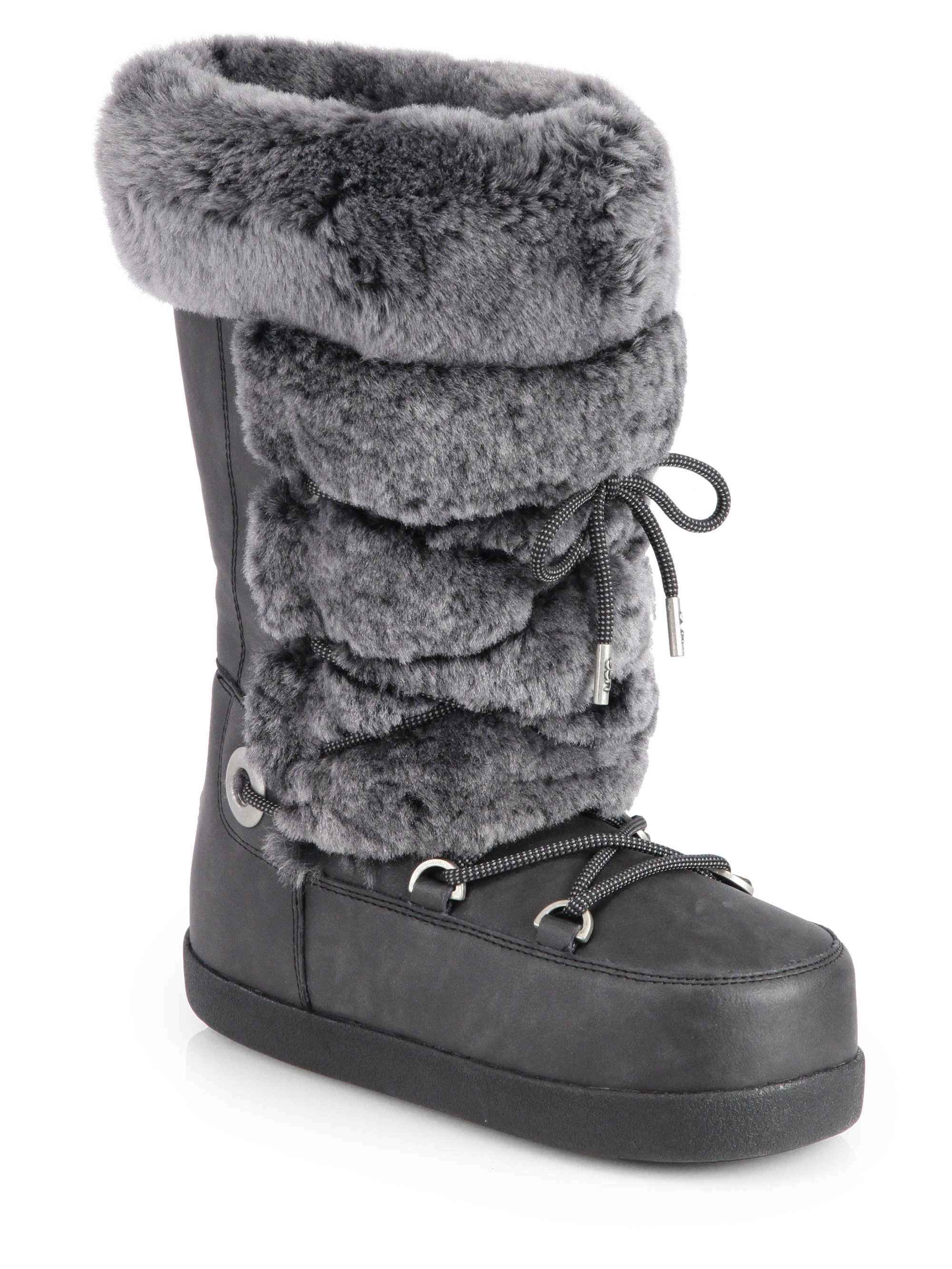 Ugg Julette Shearling Leather Moon Boots In Black Lyst