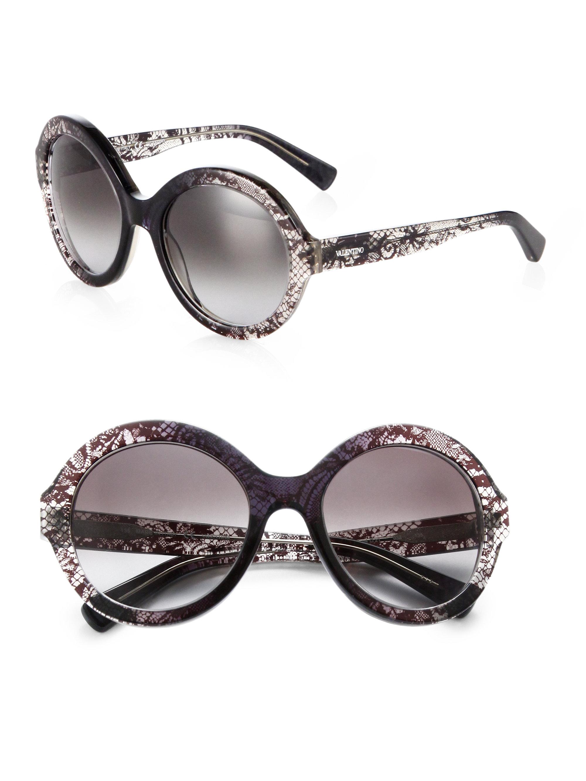 3eb9eb5e3a Valentino Oversized Round Lace Sunglasses in Gray - Lyst