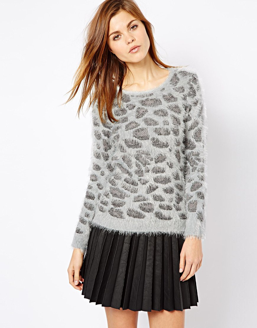 Asos Leopard Sweater In Gray Grey Lyst