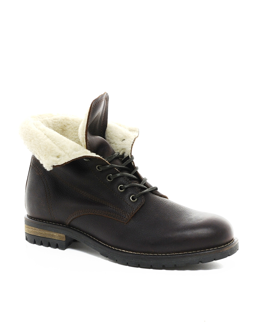 aldo wiebe shearling boots in brown for lyst