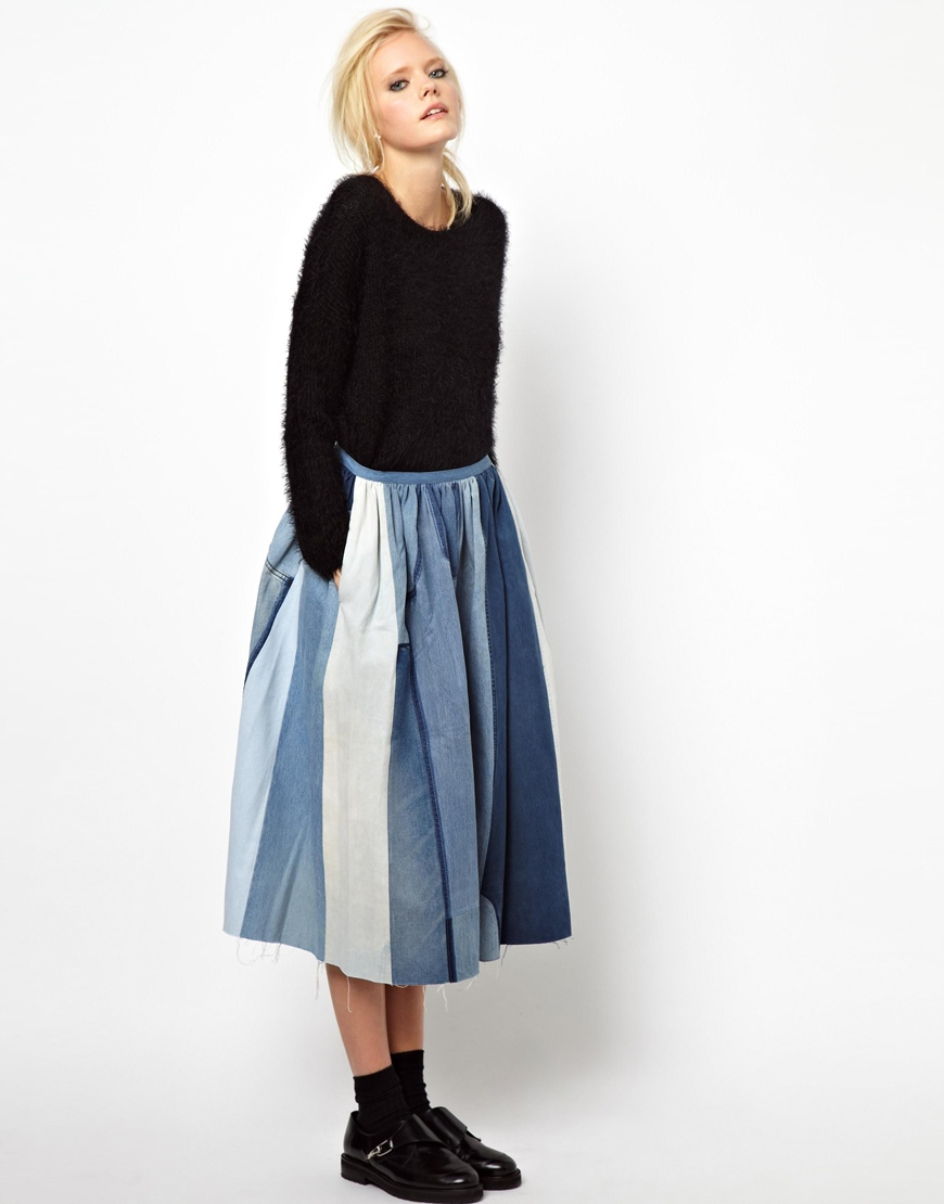 Ashish Full Skirt in Patched Denim in Blue | Lyst