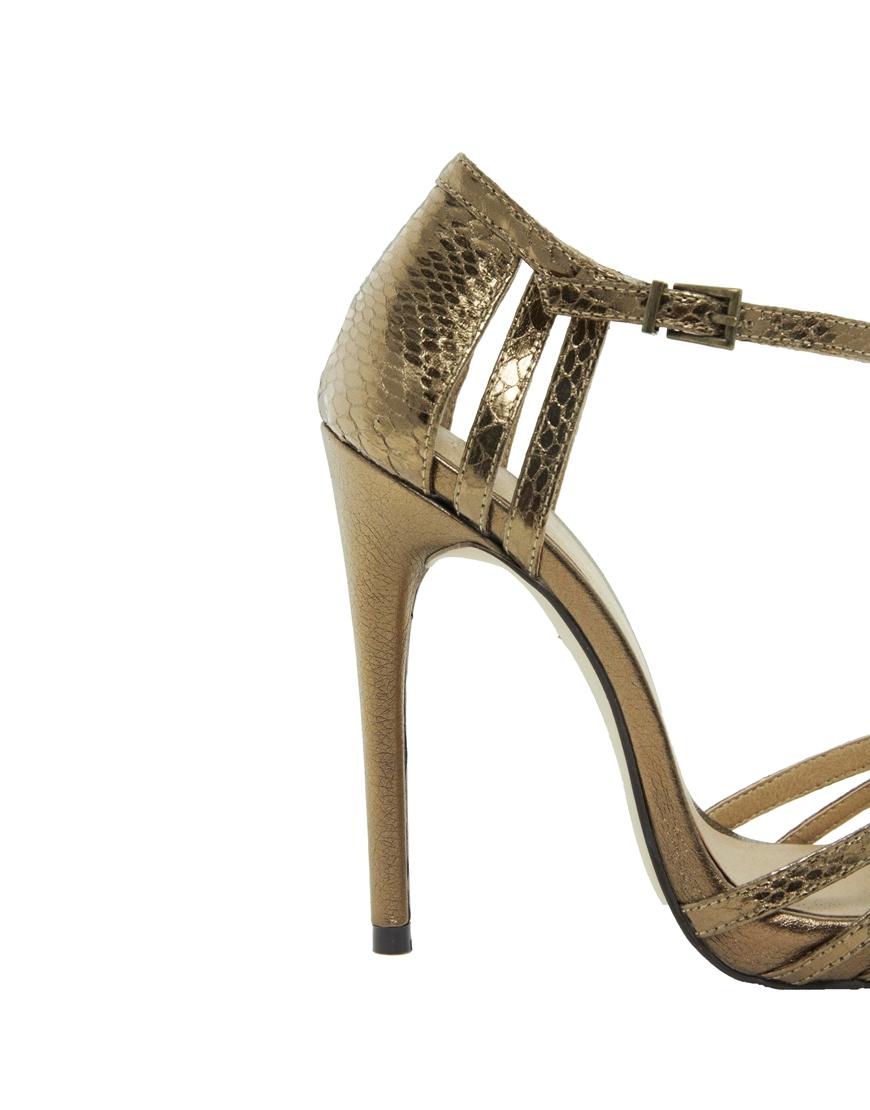 c43535fd7ecc Lyst - ASOS Handwritten Heeled Sandals in Metallic