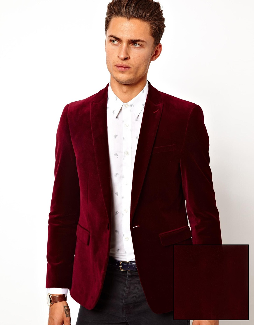 657816b551a7 ASOS Slim Fit Blazer In Velvet in Red for Men - Lyst