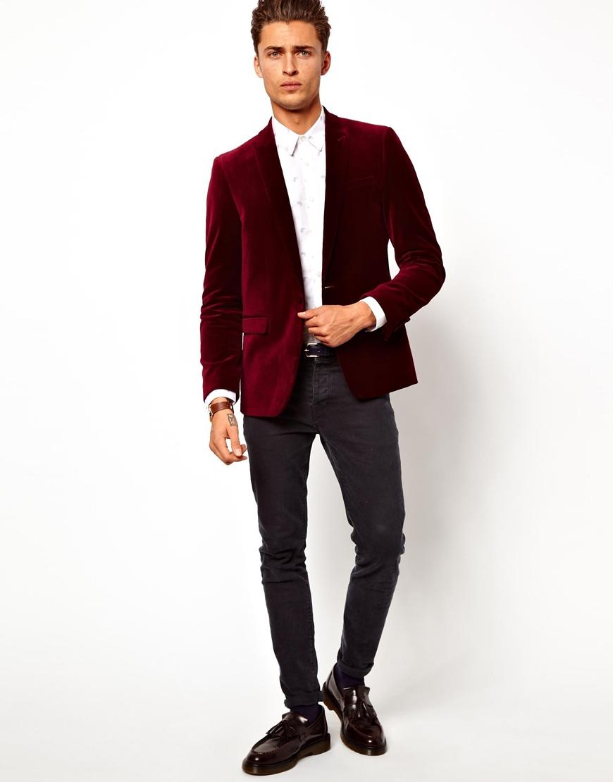 blood is the new black asos slim fit blazer in velvet in. Black Bedroom Furniture Sets. Home Design Ideas