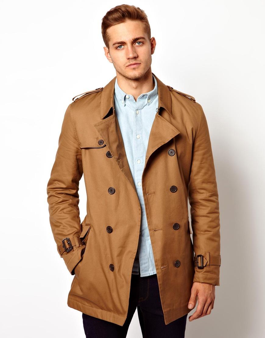 Asos Trench Coat in Brown for Men (Tobacco)