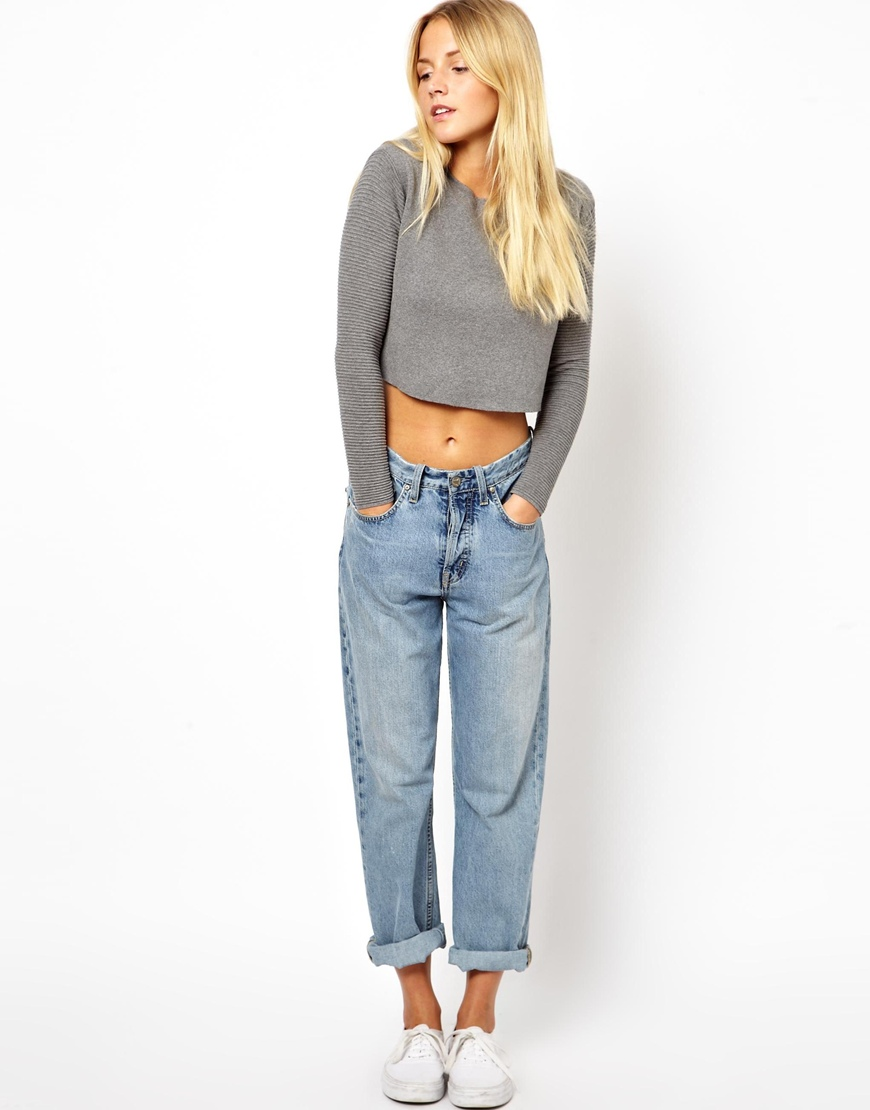 Asos Asos Premium Structured Cropped Sweater in Gray | Lyst