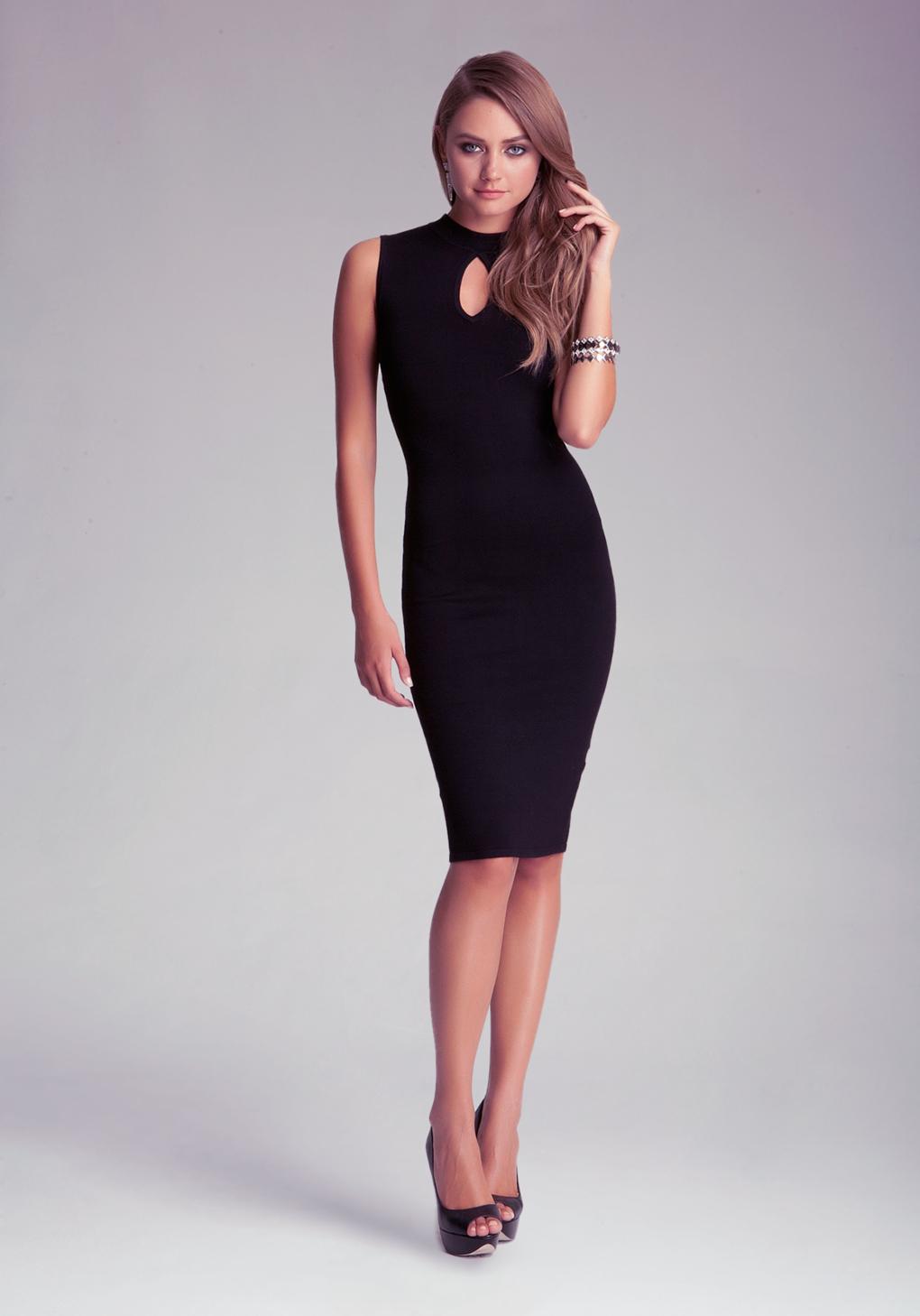 bb90f1d21a18 Bebe Petite Keyhole Midi Dress in Black - Lyst
