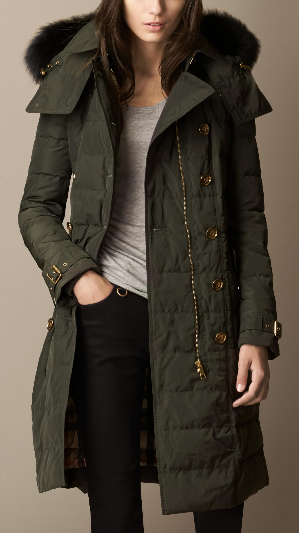 Burberry Fur Trim Downfilled Parka In Green Lyst