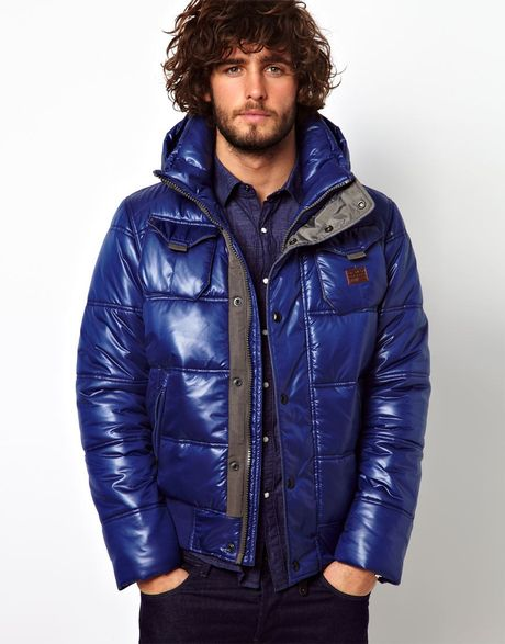 G Star Raw Quilted Bomber Jacket Whistler Hooded Chintz In
