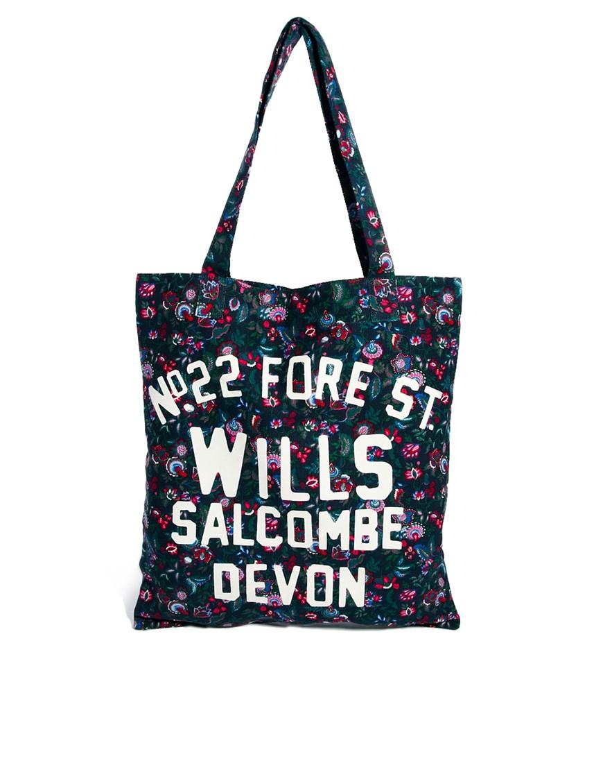 Jack Wills Book Bag In Fl Navyfl Lyst