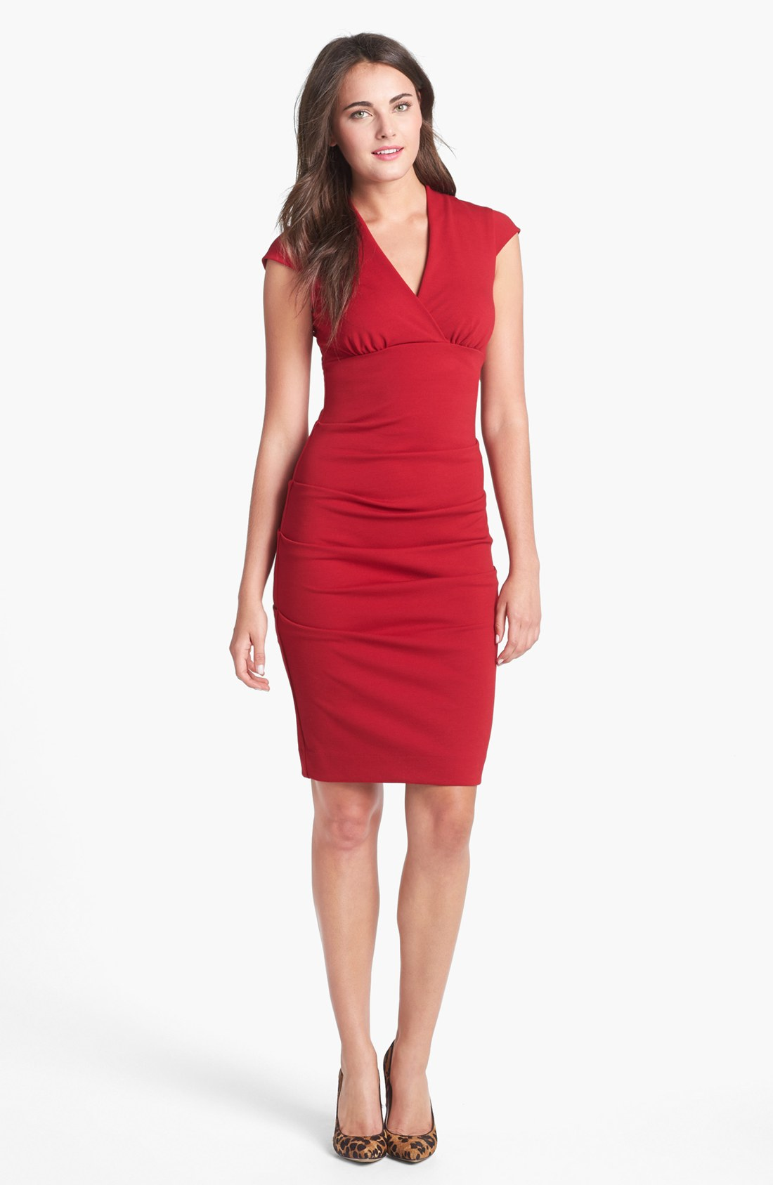 Nicole Miller Ruched Cap Sleeve Knit Sheath Dress in Red ...
