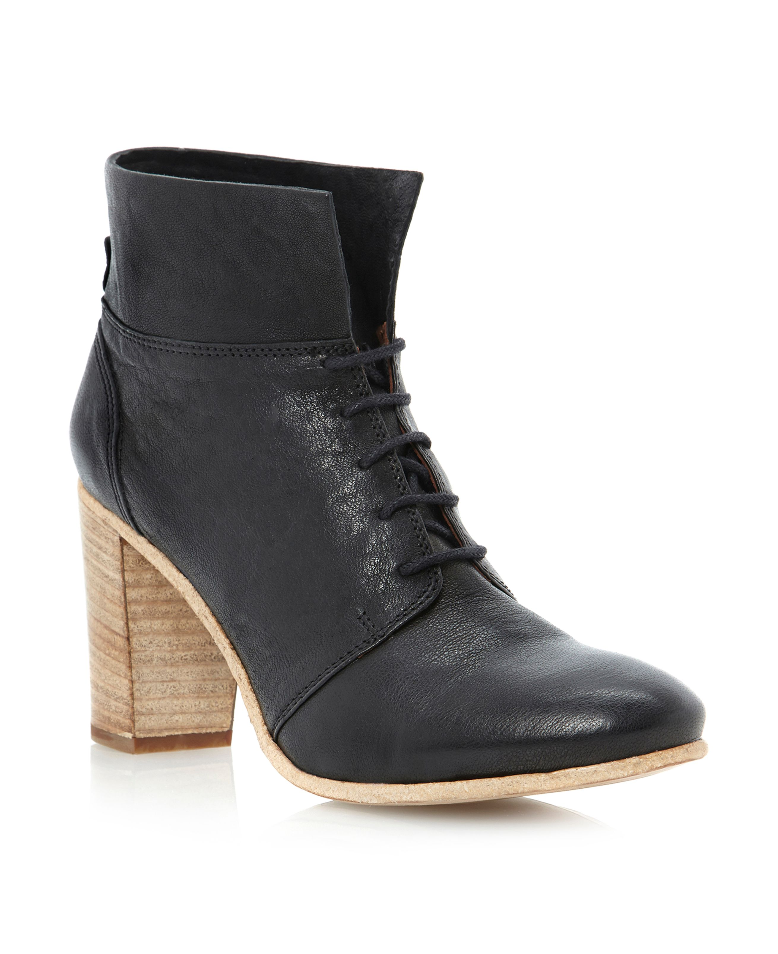 Pied A Terre Panna Lace Up Soft Boots In Black Black