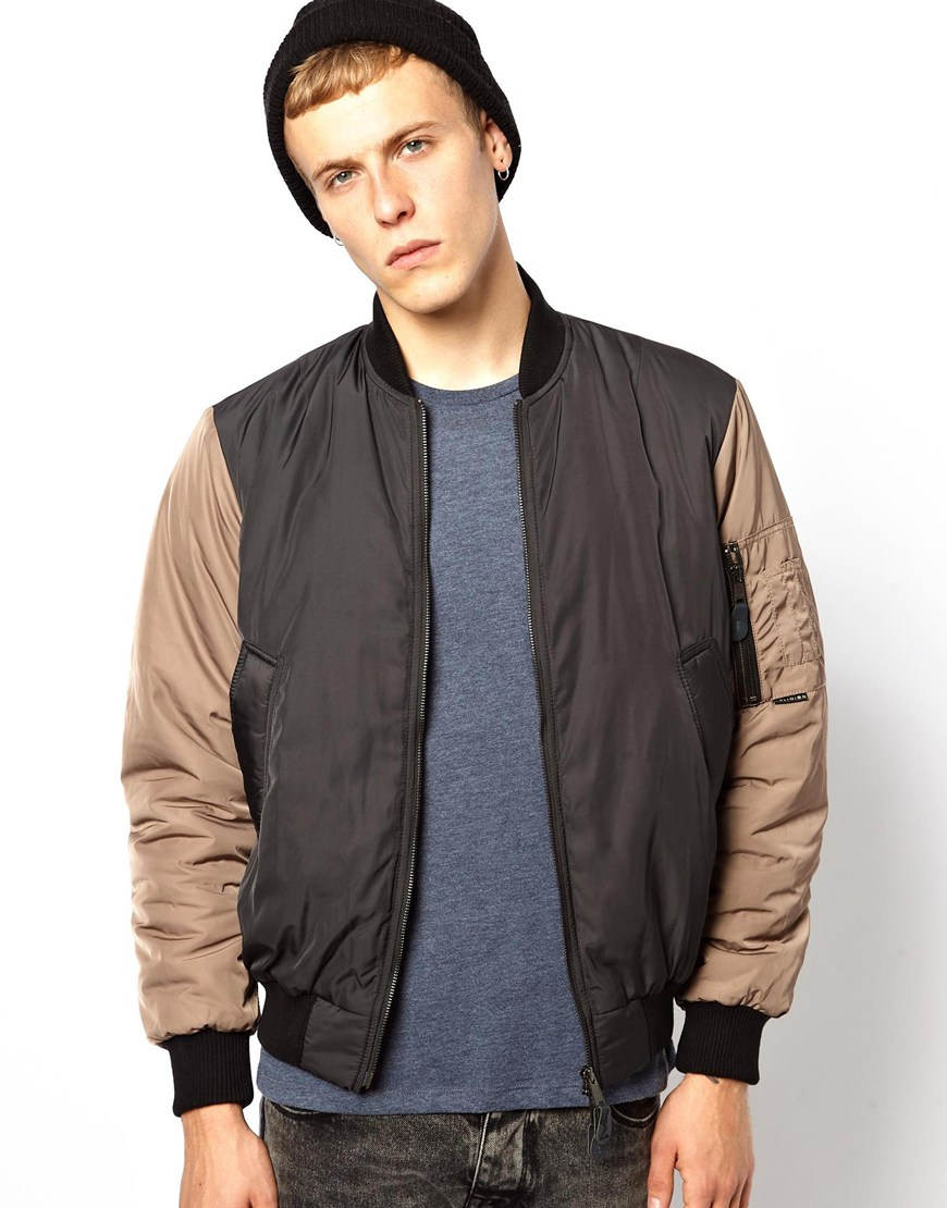Aldo Religion Bomber Jacket with Contrast Sleeves in Black for Men