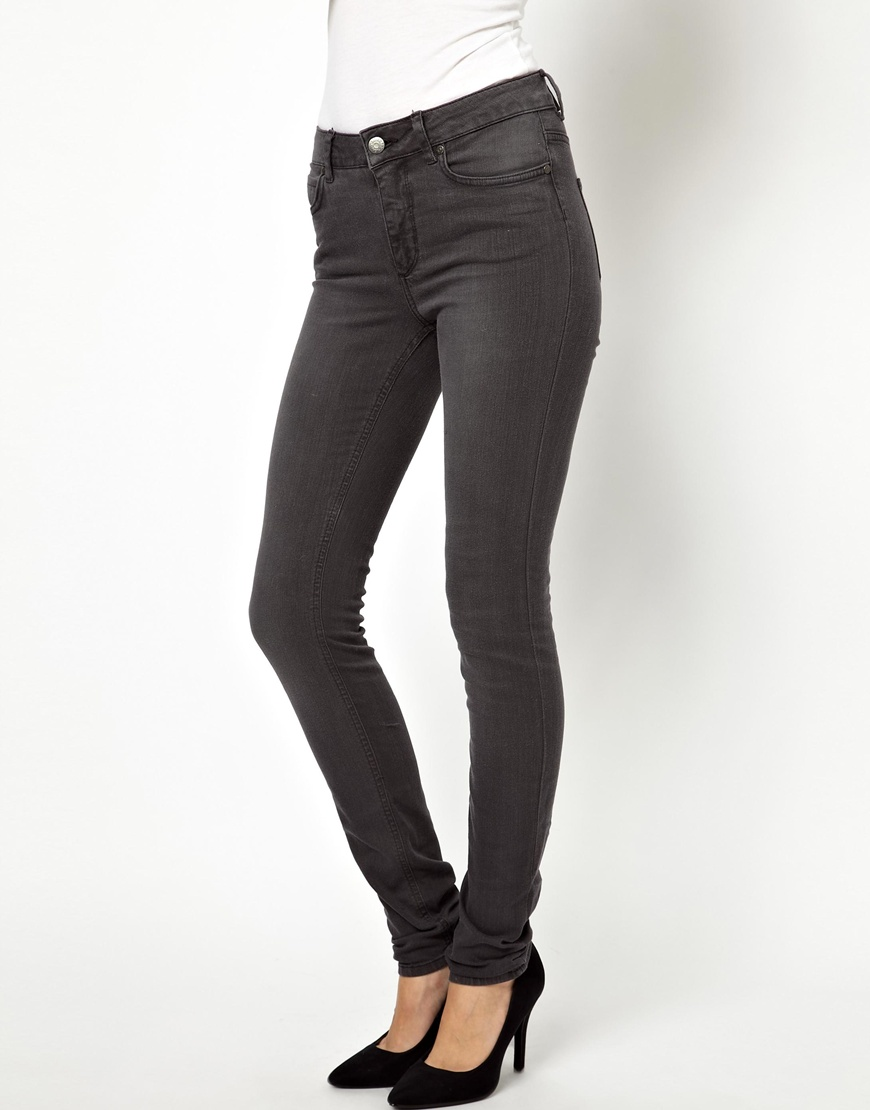 Selected Annie High Waisted Jeans in Washed Black in Gray | Lyst