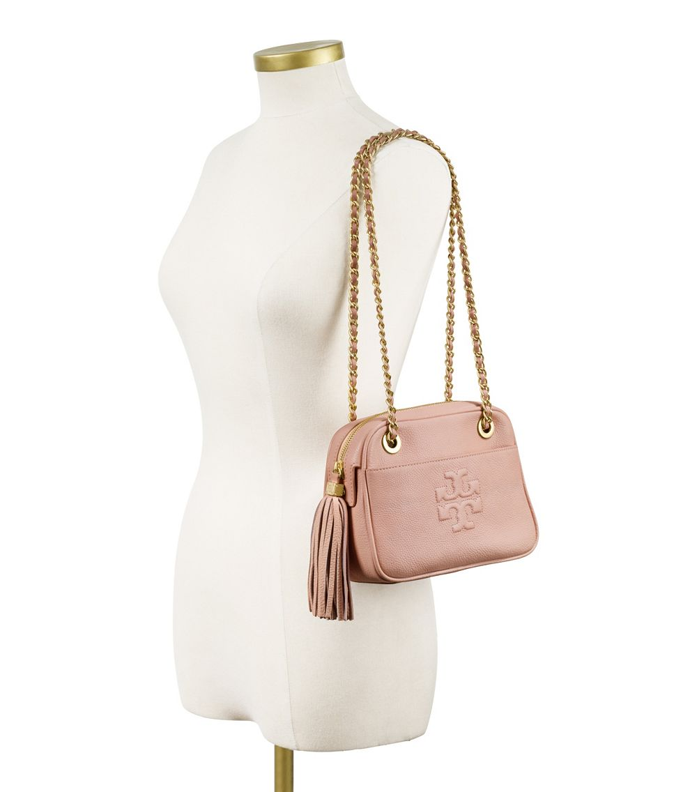 c0a23dab24e Lyst - Tory Burch Thea Crossbody Chain Bag in Pink
