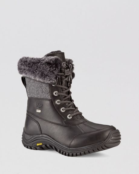 ugg lace up waterproof cold weather boots adirondack tweed