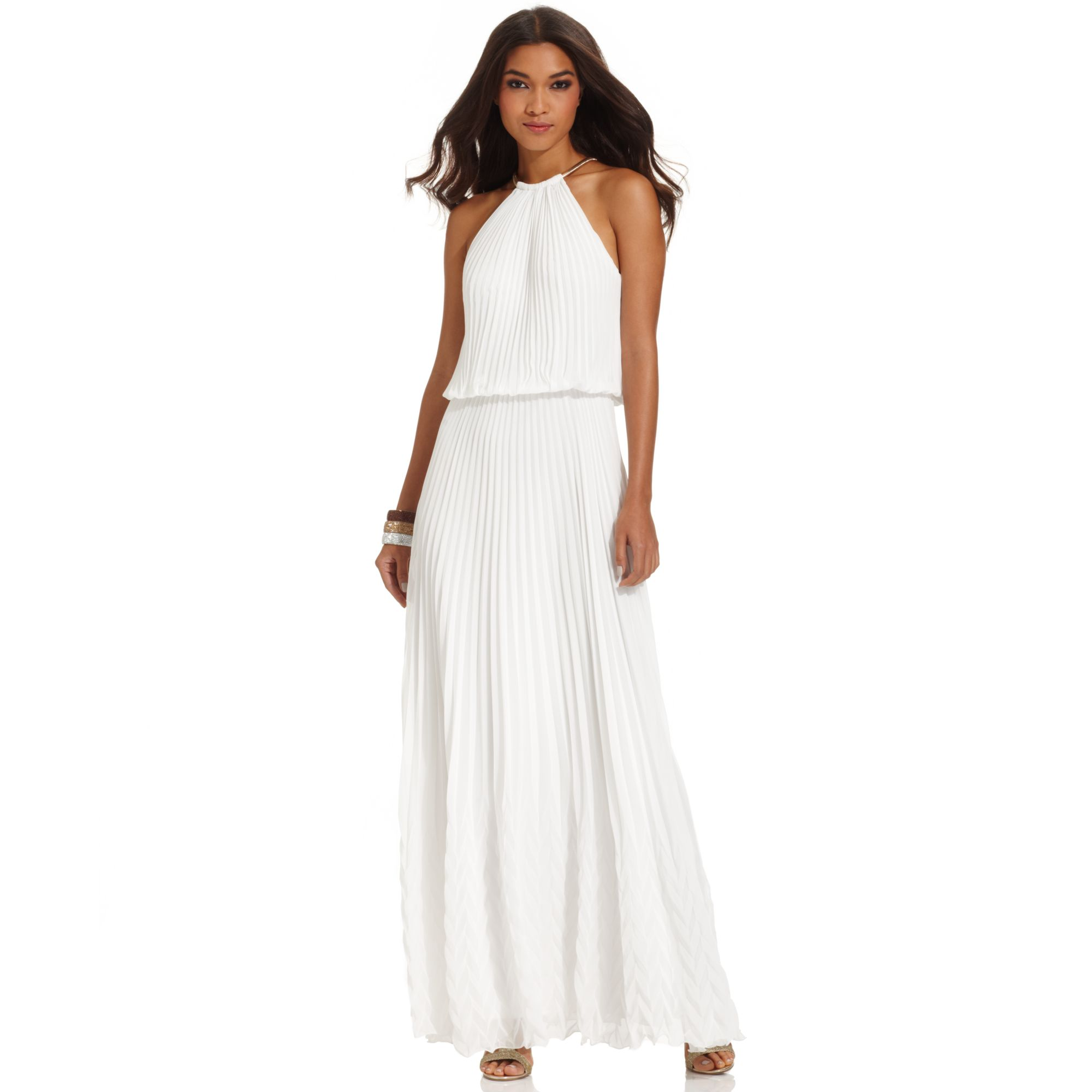 Lyst Xscape Dress Sleeveless Pleated Blouson Gown In Natural