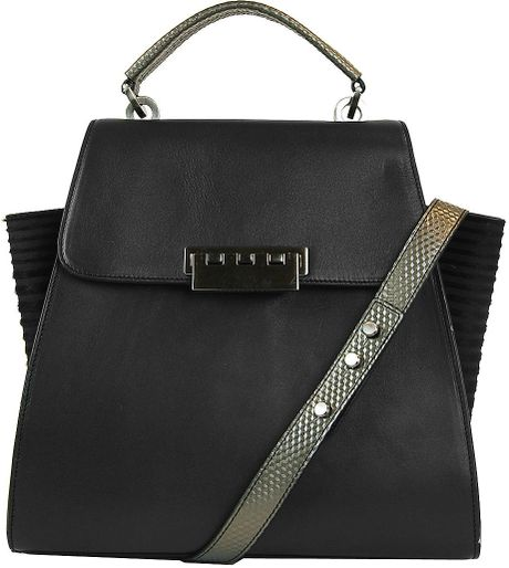 Zac Zac Posen Eartha Leather Winged Tote Bag In Black
