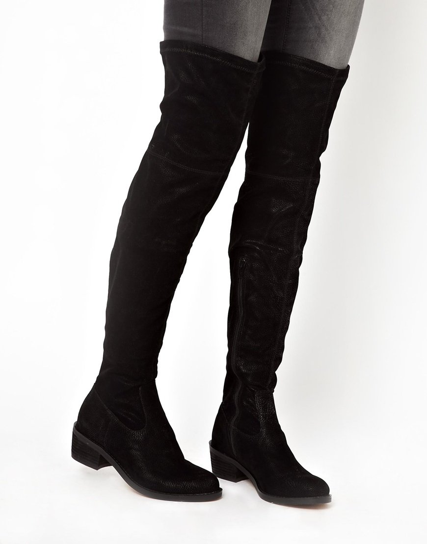 Lyst Aldo Sturmys Flat Over The Knee Boots In Black