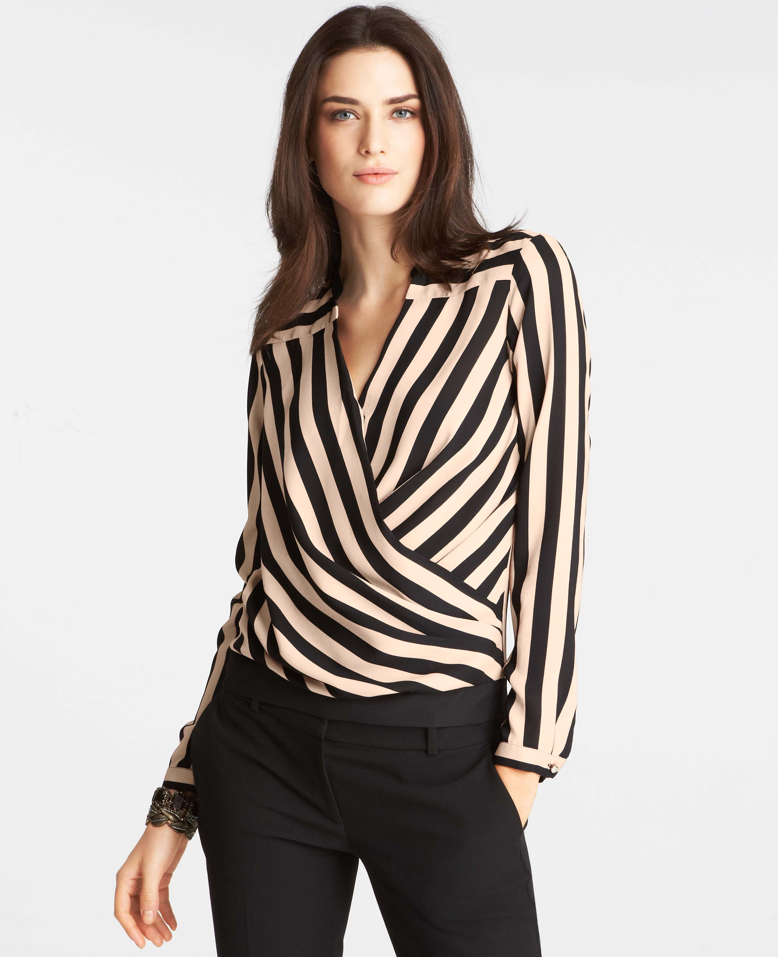 Ann taylor Striped Wrap Top in Black | Lyst