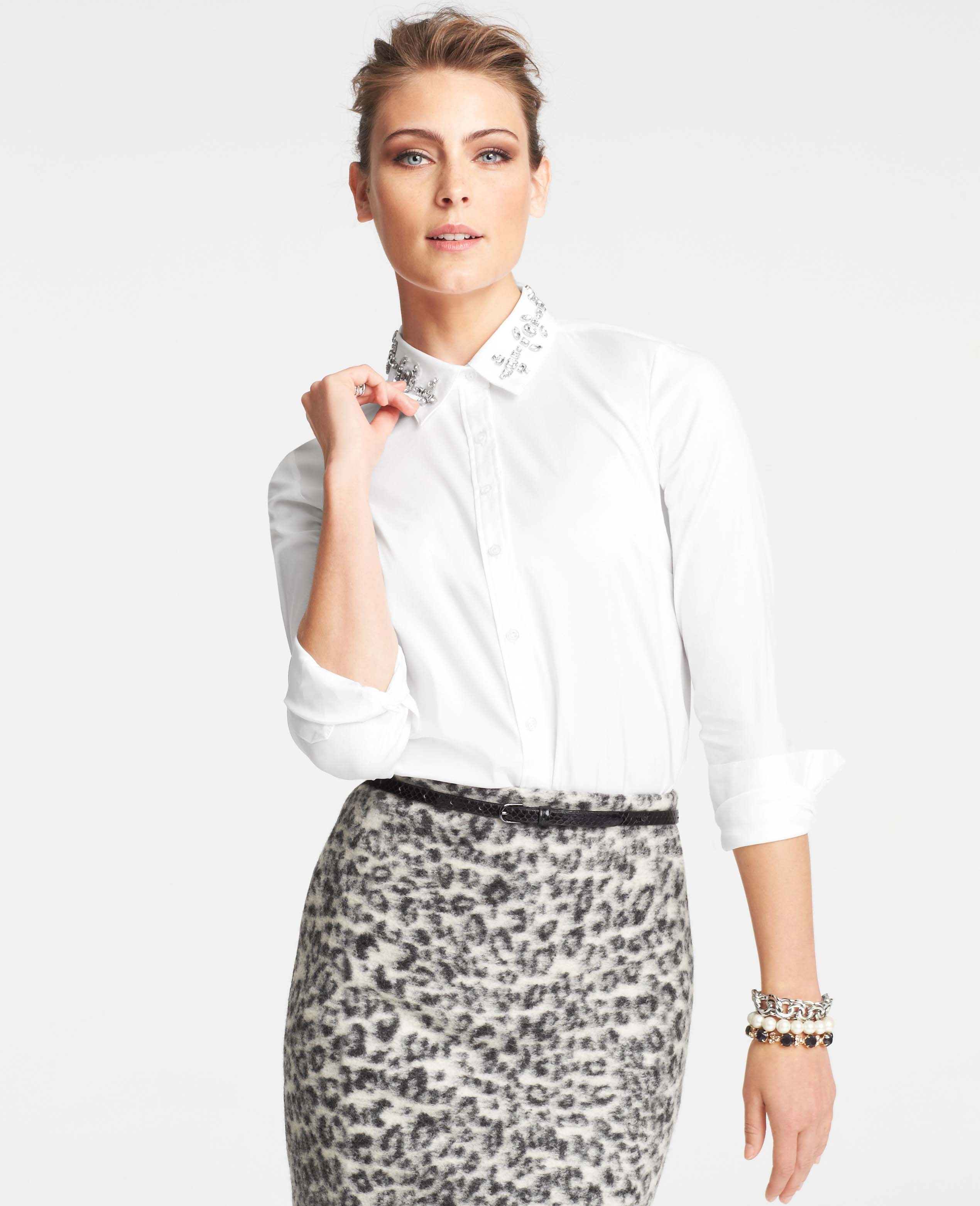 Lyst Ann Taylor Jeweled Collar Shirt In White