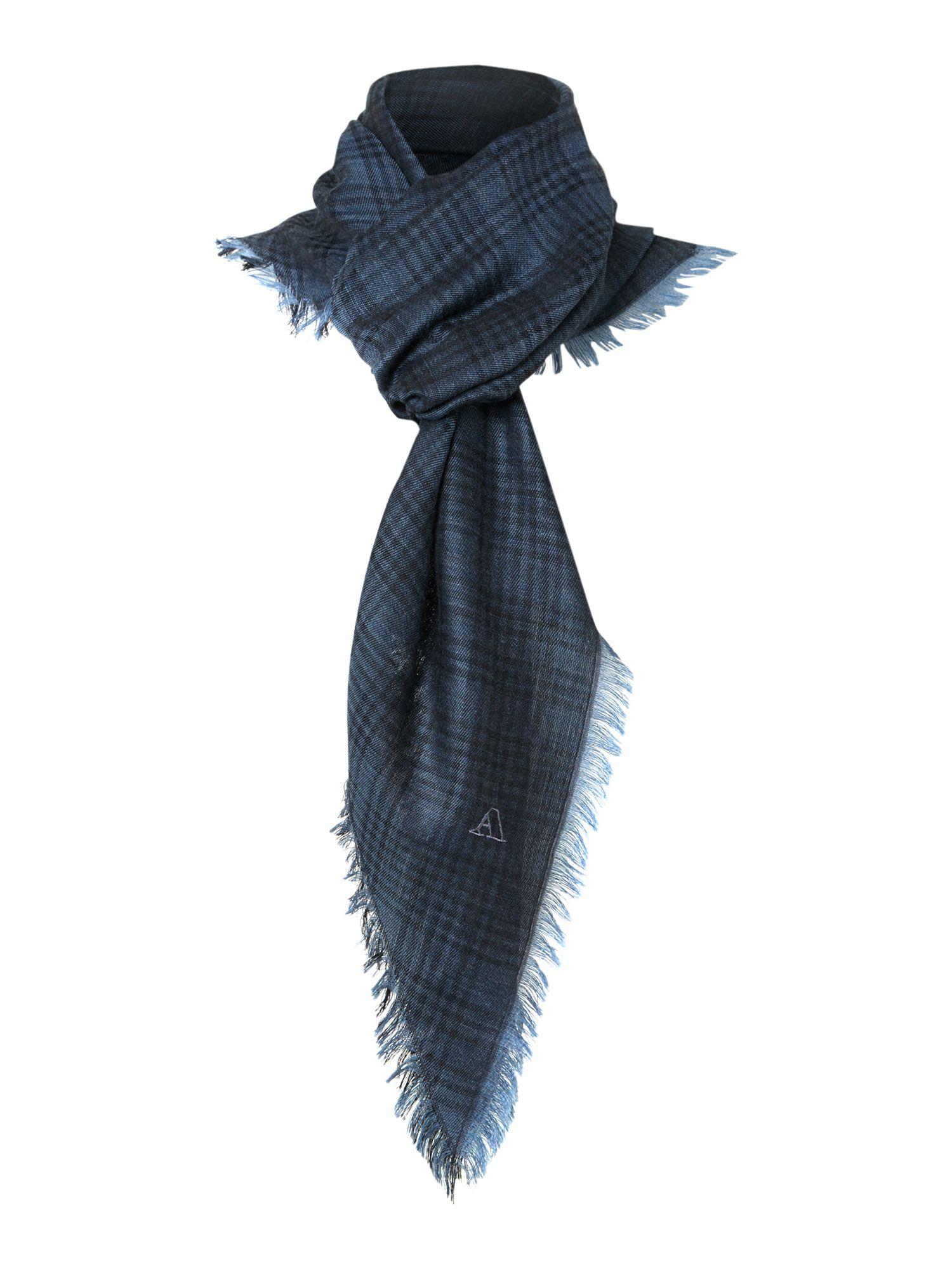 aquascutum wool silk check scarf in blue for green